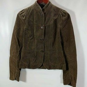French Connection Jacket Button Up Brown Corduroy